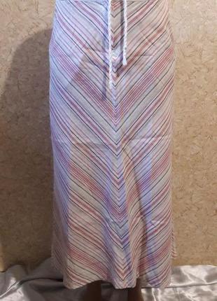 Льняная полосатая юбка