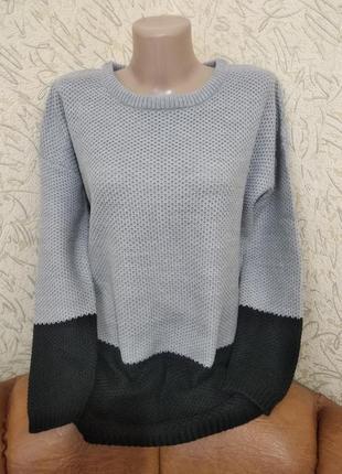 Удлиненный двухцветный свитер ann christine p.s