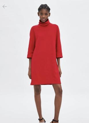Стильное трикатажное тёплое красное платье с горлом zara