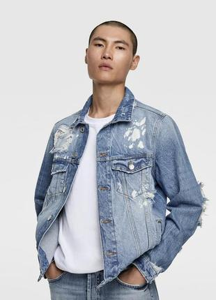 Стильная джинсовая куртка (джинсовый пиджак) с дырками zara