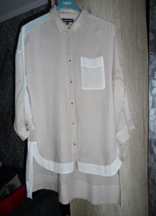 Суперская рубашка warehouse ,12р.шёлк,вискоза.