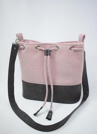 Сумка розово-коричневая текстильная через плечо