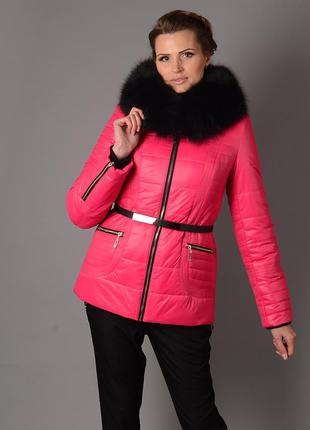 Шикарная зимняя куртка на холлофайбере с натуральным мехом песца розовая, оранжевая