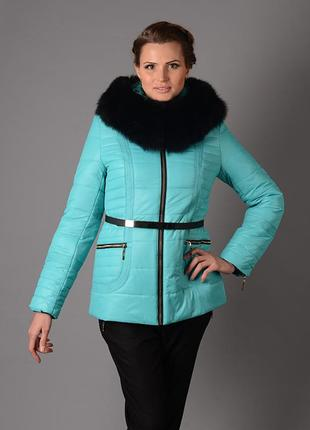 Шикарная зимняя куртка на холлофайбере с натуральным мехом песца бирюзовая, оранжевая