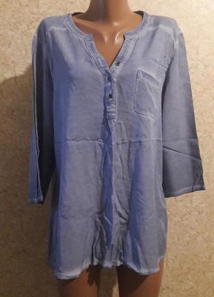 Рубашка джинсового оттенка с трикотажной спиной