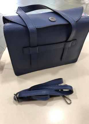 Блакитна сумка з натуральної шкіри   сумка синяя натуральная кожа
