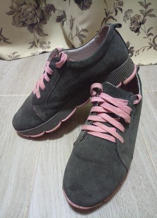 Женские замшевые кожаные кроссовки3 фото