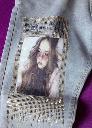 Оригинальные джинсы бойфренд стразы,картина