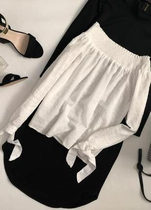 Шикарна білосніжна блуза new look з опущеними плечами