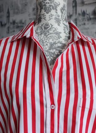 Оригинальная рубашка в красную полоску от zara5 фото