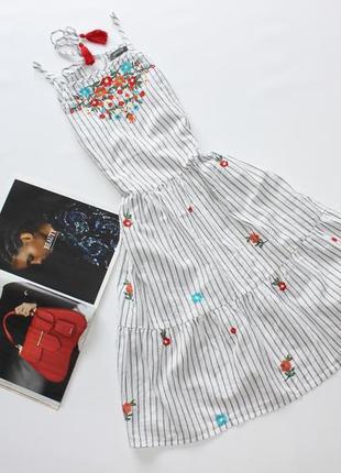 Красивый легкий сарафан платье в полоску с вышивкой цветы л 12
