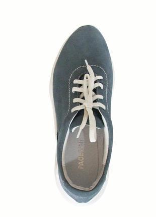 Голубые женские кроссовки из натурального нубука