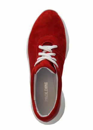 Красные женские кроссовки из натурального нубука