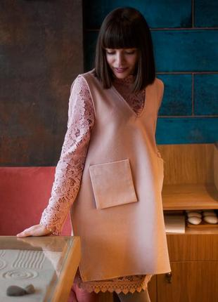 Розовая платье-двойка romwe: кружевное + накидка-жилет, размер s