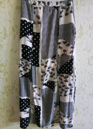 Шикарная штапельная макси юбка с разрезами спереди рр. 6-8