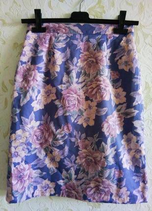 Шикарная хлопковая юбка миди в цветы 10-12рр