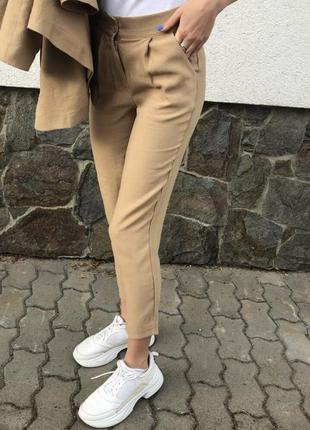 Базовые брюки на высокой посадке карамельного цвета