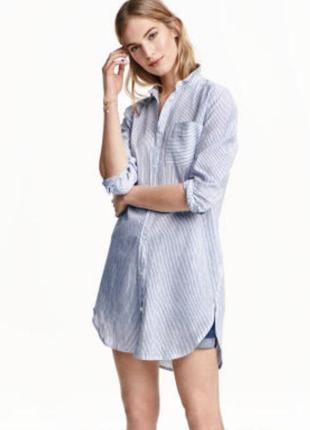 Платье рубашка лён коттон h&m