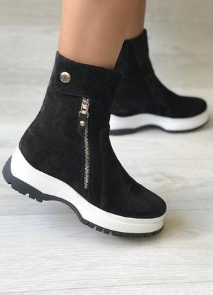 Комфортные ботинки из натуральной замши