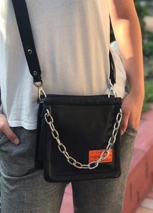 Женская кожаная сумка polina & eiterou чёрная жіноча шкіряна чорна
