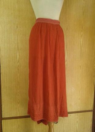 Вискозная терракотовая юбка из жатой ткани,3xl - 5xl.