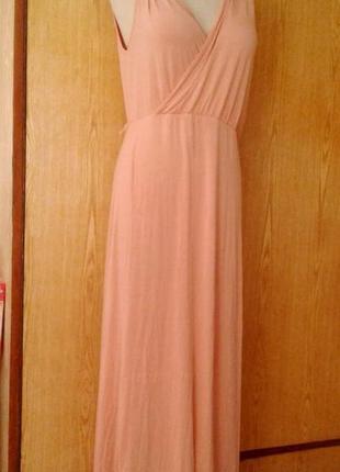 Вискозное бледно-розовое платье- сарафан, l