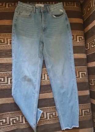 Обрезанные прямые джинсы с потёртой отделкой💫