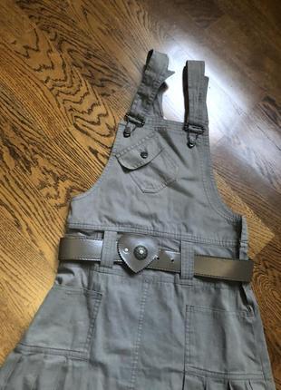 Сарафан  / детский / хаки/ стиль милитари/ зеленый/ платье/ в школу/ школьная форма