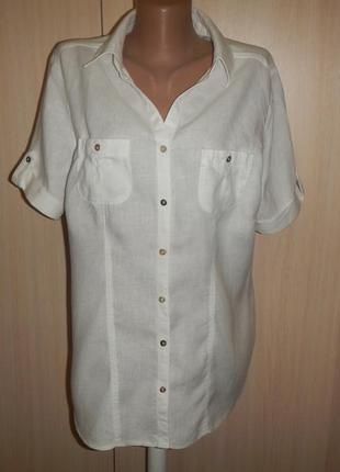 Белая льняная блуза canda (c&a) р.46
