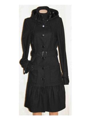 Качественное модное пальто шерсть демисезон, капюшон, vila clothes