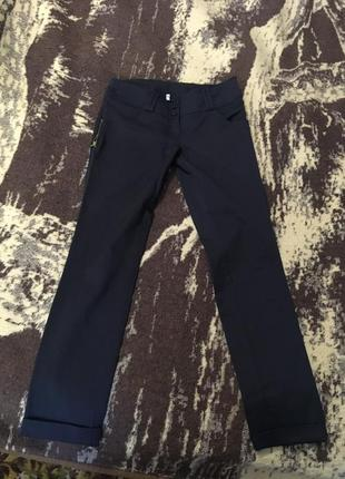 Брюки классика темно синие слаксы женские брюки по щиколотку