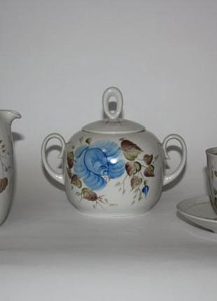 Сервиз чайный с голубыми цветами