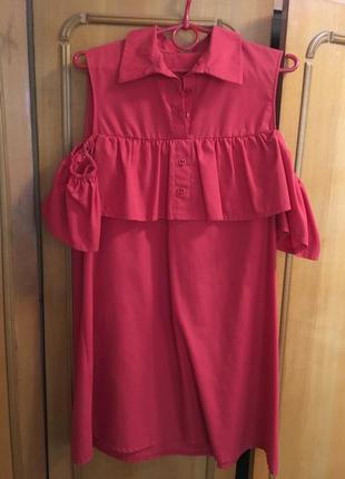 Красное женское летнее платье