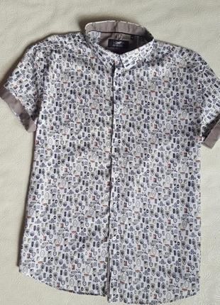 Коттоновая рубашка  короткий рукав enisse турция