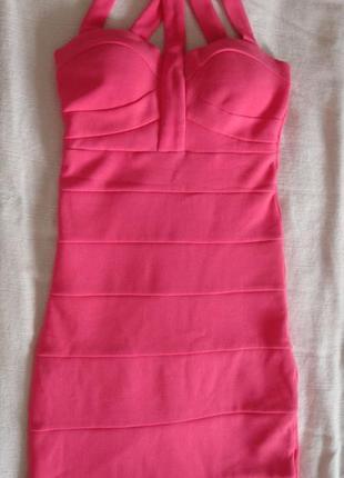 Розовое бандажное платье tally weijl
