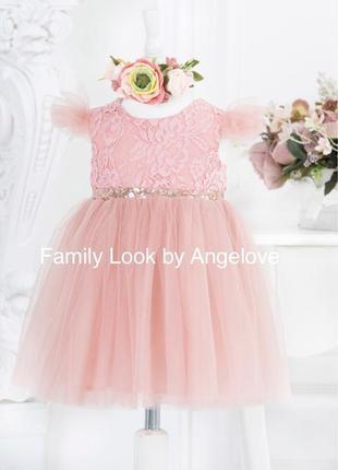 Пышное платье для малышки пудровое1 фото