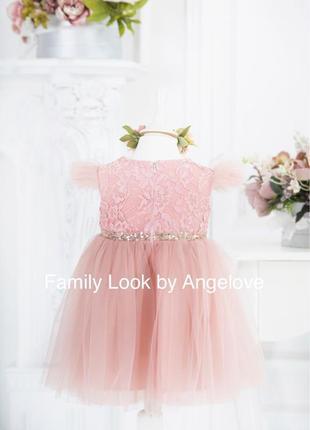 Пышное платье для малышки пудровое3 фото
