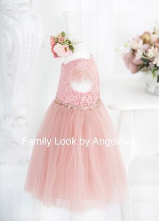 Пышное платье для малышки пудровое2 фото