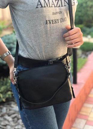 Женская кожаная сумка итальянская черная жіноча шкіряна чорна італія