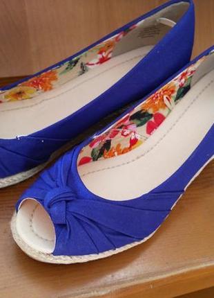 Туфли на танкетке, синие, 39