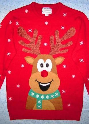 Новогодний свитер с  веселым оленем, размер м/l