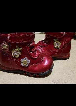 Ботинки для девочек 22 размер лаковые красные