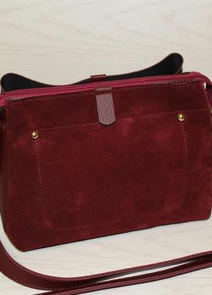 Новая сумка бордо из натуральной замши, клатч