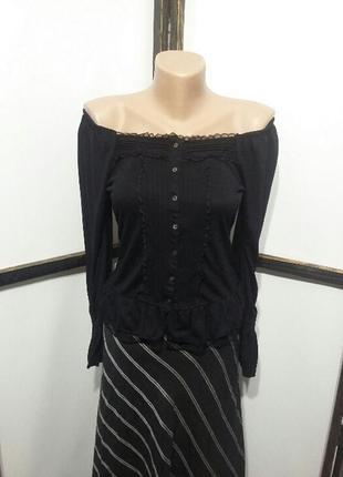Блуза  кофточка в бохо стиле с открытыми плечами с кружевом бренд after all