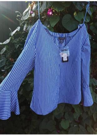 Рубашка в полоску, модная, с красивыми рукавами