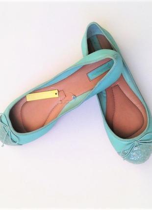 Женские летние яркие туфли балетки мятные с бантиком