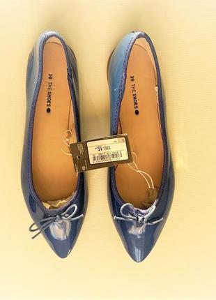 Яркие синие туфли балетки лодочки без каблука германия 37, 38