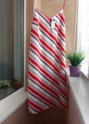 Красивое стильное летнее платье /сарафан в диагональную полоску