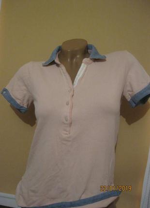 Плотная котоновая футболка поло