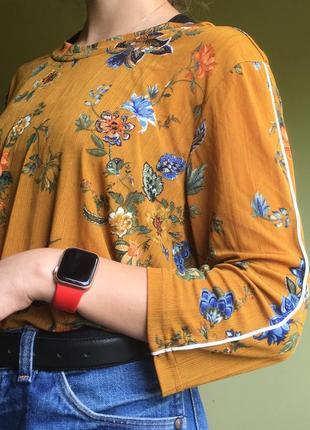 Блузка блуза в рубчик с цветами
